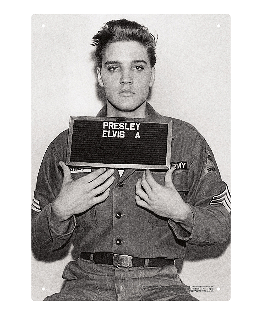 Elvis Enlistment Photo Tin Sign Elvis Enlistment Photo Tin Sign. Adorn your space with rock and roll style with this sign that shows off your favorite rock star. It's crafted from durable tin for long-lasting use.Full graphic text: Presley Elvis A8'' W x 11.5'' HTinImported