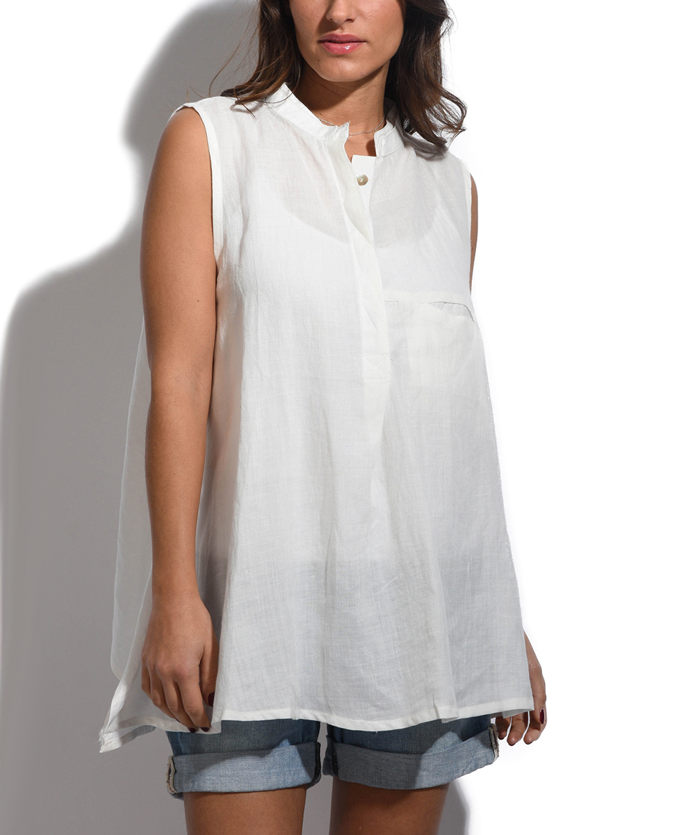 3470f96ab82e5 Bella Blue Off-White Linen Button-Front Tunic - Women