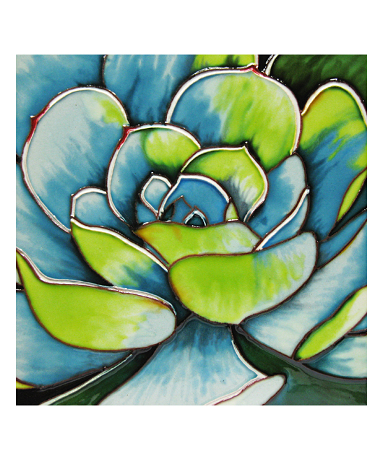 Continental Art  Stepping Stones  - Green & Blue Succulent 8'' x 8'' Painted Tile