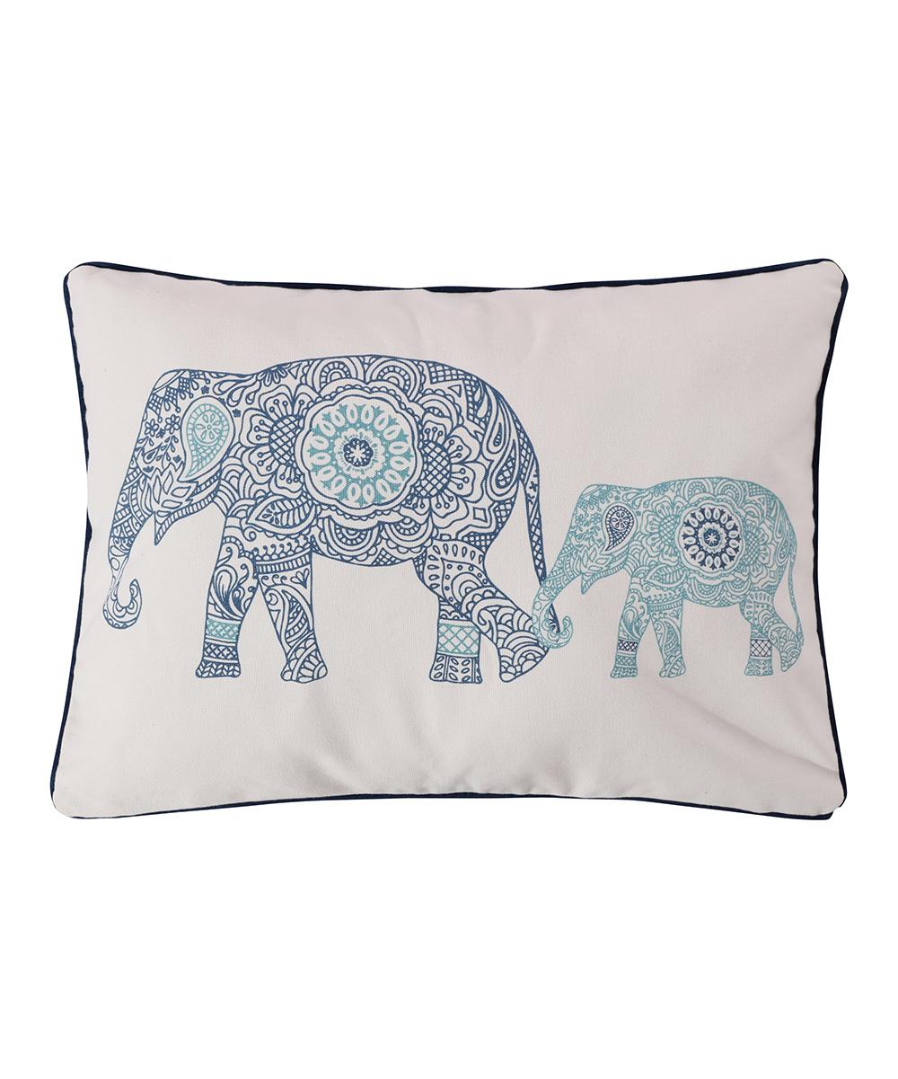 Levtex Home  Throw Pillows  - White & Blue Elephant Tania Lumbar Pillow