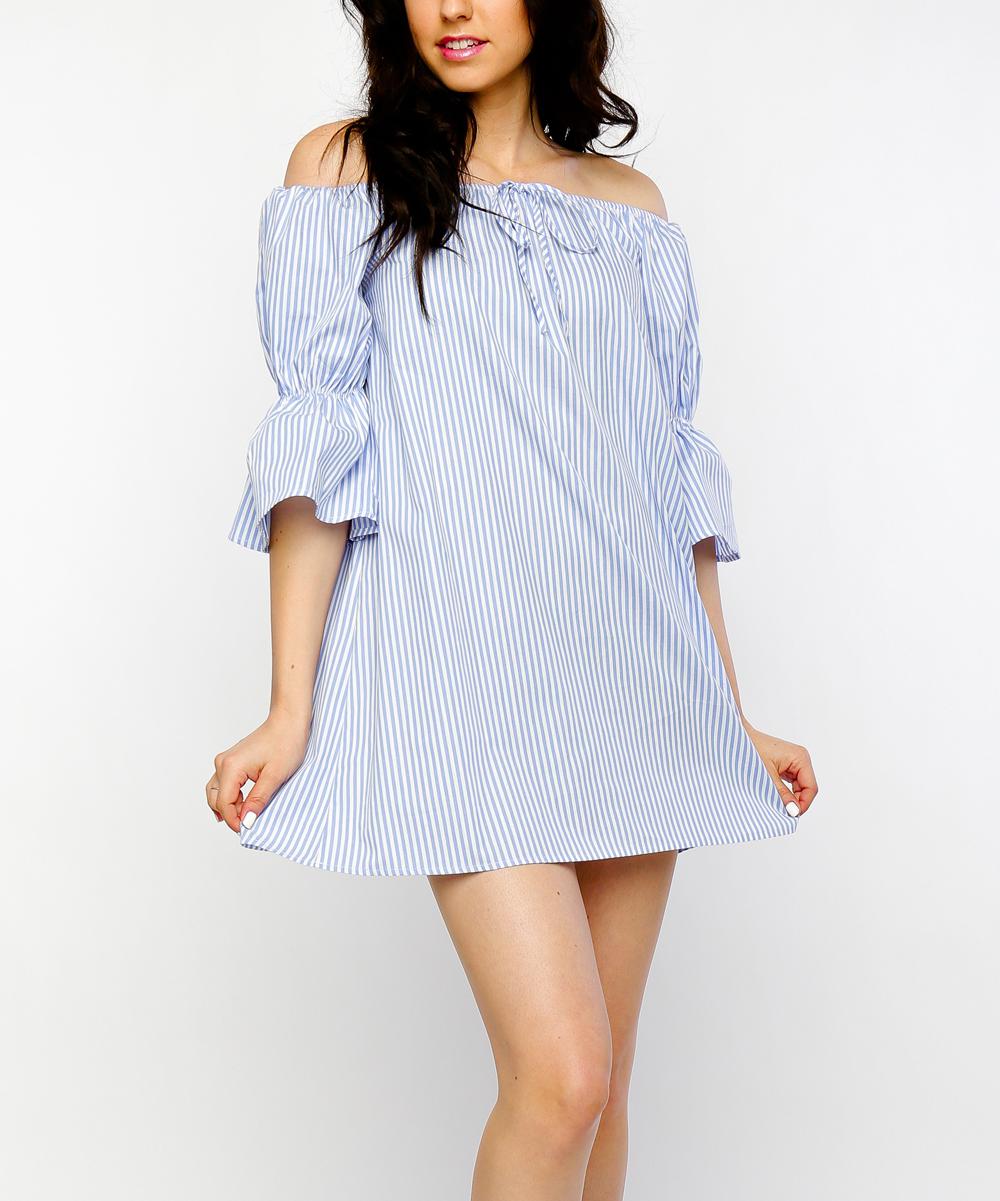 31391529e1ba love this product Blue   White Pin Stripe Poplin Off-Shoulder Shift Dress