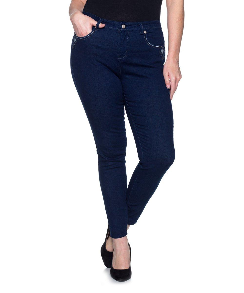 81e3b3efa14 be-girl Dark Indigo Embellished Pocket Skinny Jeans - Women   Plus ...