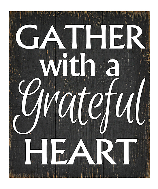 Black & White 'Gather with a Grateful Heart' Wall Art