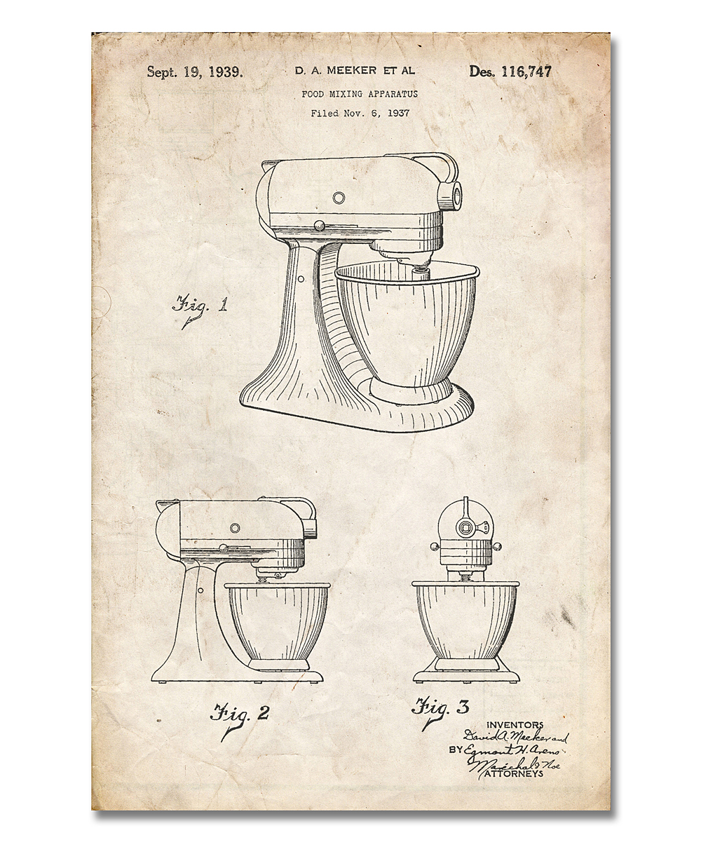 Patent Prints  Prints Vintage - Vintage Parchment Kitchen Mixer Patent Print Vintage Parchment Kitchen Mixer Patent Print. Accent your space with this retro-inspired print that boasts a minimalist design crafted with archival inks. Heavy cardstock ensures a long-lasting piece. Frame not includedAcid-free cardstock / archival inkShipping note: This item is made to order. Allow extra time for your special find to ship.