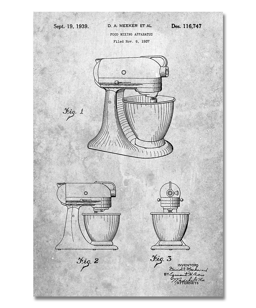 Patent Prints  Prints Slate - Slate Kitchen Mixer Patent Print Slate Kitchen Mixer Patent Print. Accent your space with this retro-inspired print that boasts a minimalist design crafted with archival inks. Heavy cardstock ensures a long-lasting piece. Frame not includedAcid-free cardstock / archival inkShipping note: This item is made to order. Allow extra time for your special find to ship.