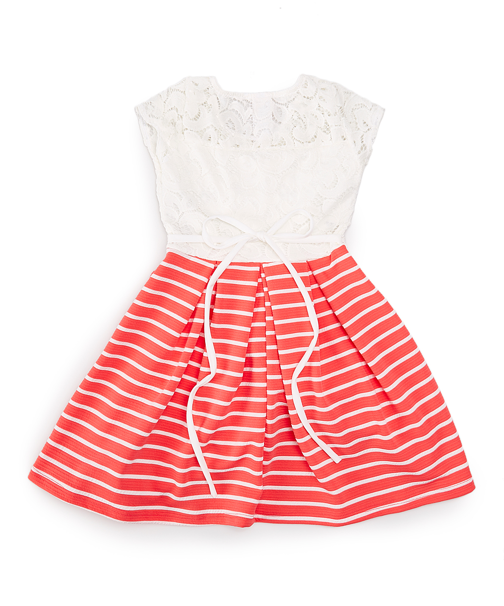 a2d699b8adad Just Kids White Lace   Peach Stripe Dress   Necklace - Toddler ...