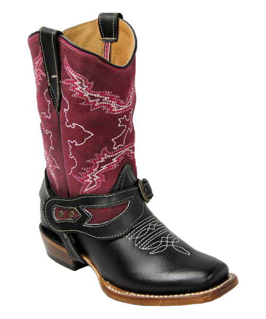 6ae5e506d01 Tanner Mark Boots Black & Magenta Chelsea Harness Blunt-Toe Leather Cowboy  Boot