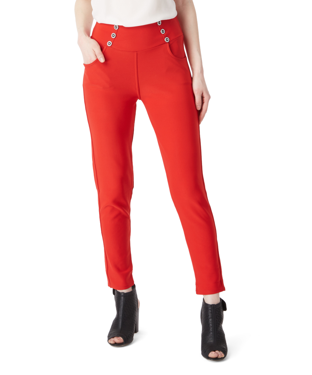 d95dd04e096fa Poplooks Red Decorative Button Pocket Jeggings - Women   Zulily