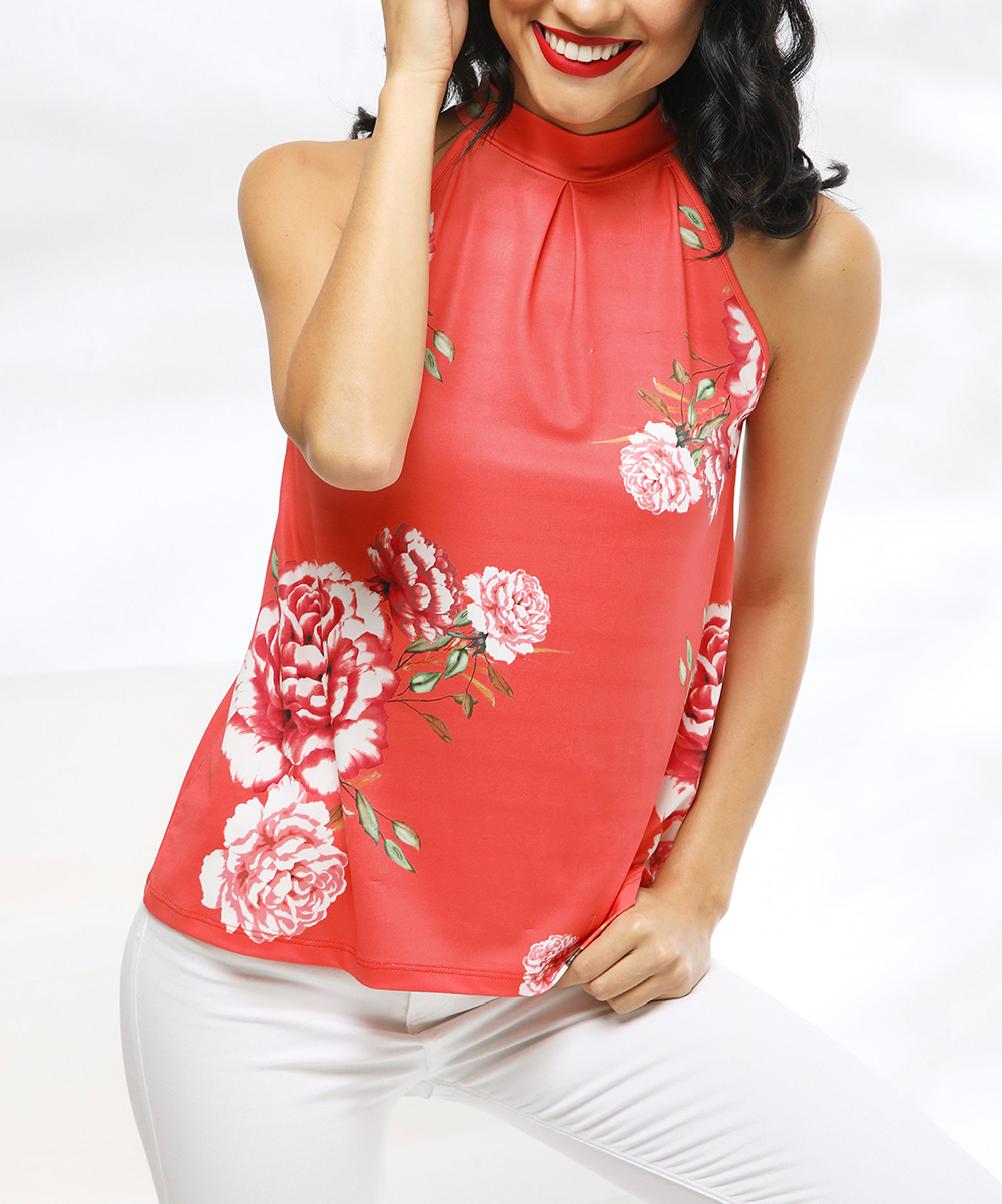 9d02c38cd ... Womens CORAL-FLORAL Coral Floral Yoke Top - Alternate Image 3 ...