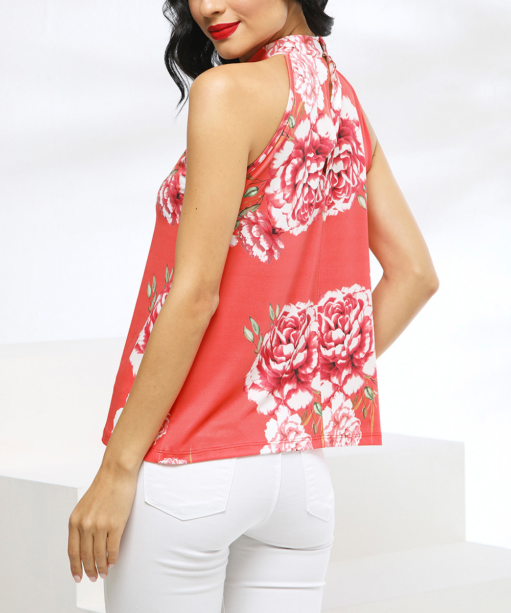 68459ddbf ... Womens CORAL-FLORAL Coral Floral Yoke Top - Alternate Image 5