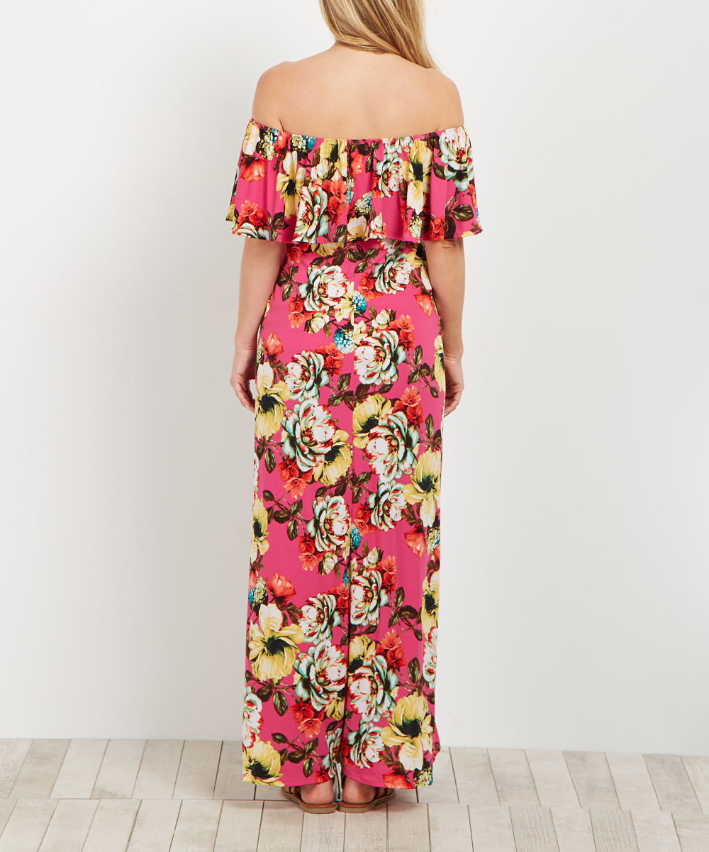 f0319e4a5510 love this product PinkBlush Fuchsia Floral Off-Shoulder Maternity Maxi Dress