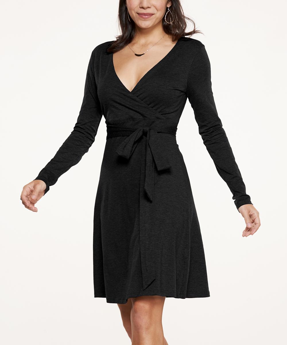 5fac2e9b72368f Toad&Co Black Cue Organic Cotton Wrap Dress - Women | Zulily