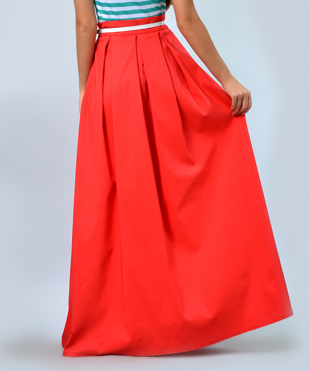 7e034e072d ... Womens coral Coral Belted Pleat Maxi Skirt - Alternate Image 2