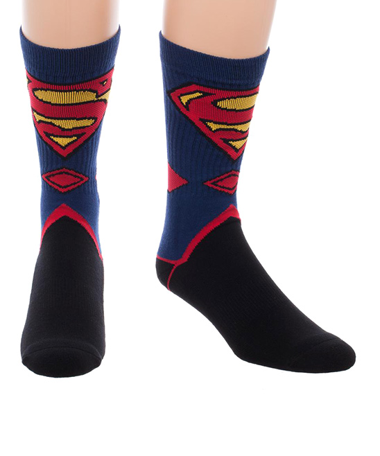 Superman Suit Crew Socks - Men Superman Suit Crew Socks - Men. Strut around Krypton in pure-cotton comfort with these socks featuring the iconic Man of Steel. 100% cottonMachine washImported