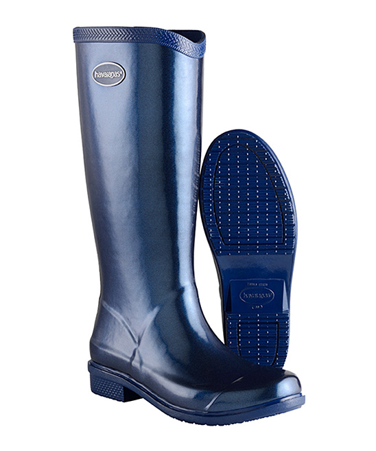 902ec0d0a8d20e ... Womens NAVY BLUE METALLIC Navy Blue Metallic Galochas Hi Rain Boot -  Alternate Image 2 ...