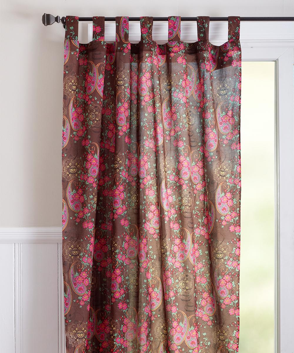 Karma Living Chocolate U0026 Pink Floral Curtain