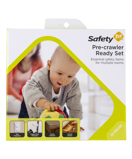 Pre-Crawler Safety Set Pre-Crawler Safety Set. Prep for an on-the-move baby with this safety set that prevents access to unused power outlets, protects fingers, cushions furniture corners and more. Includes 20 plug protectors, 10 cabinet and drawer latches, four corner cushions and one finger pinch preventerImported