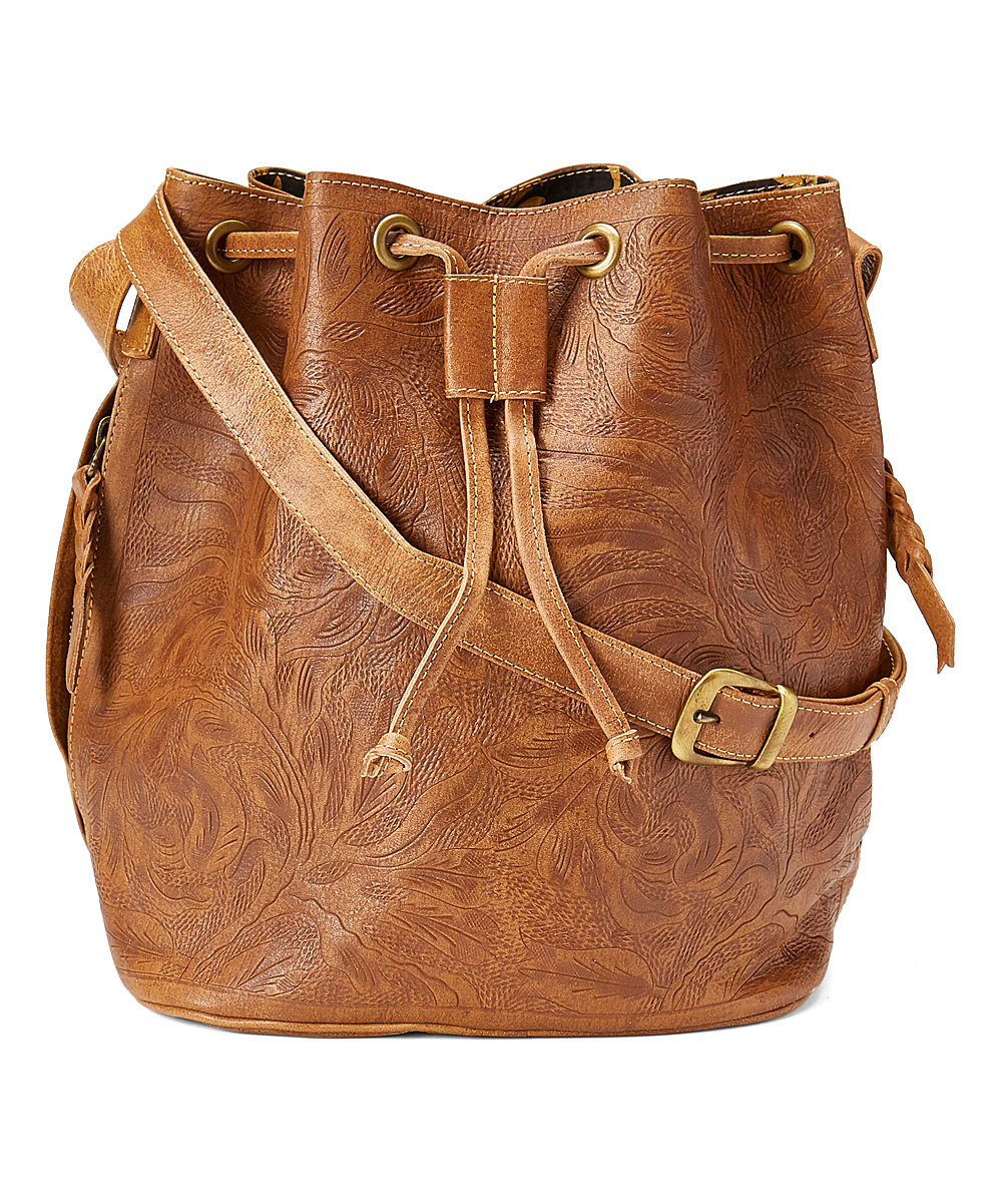 Leaders in Leather Natural Sheridan Tooled Leather Bucket Bag  8efacd87ea4e9