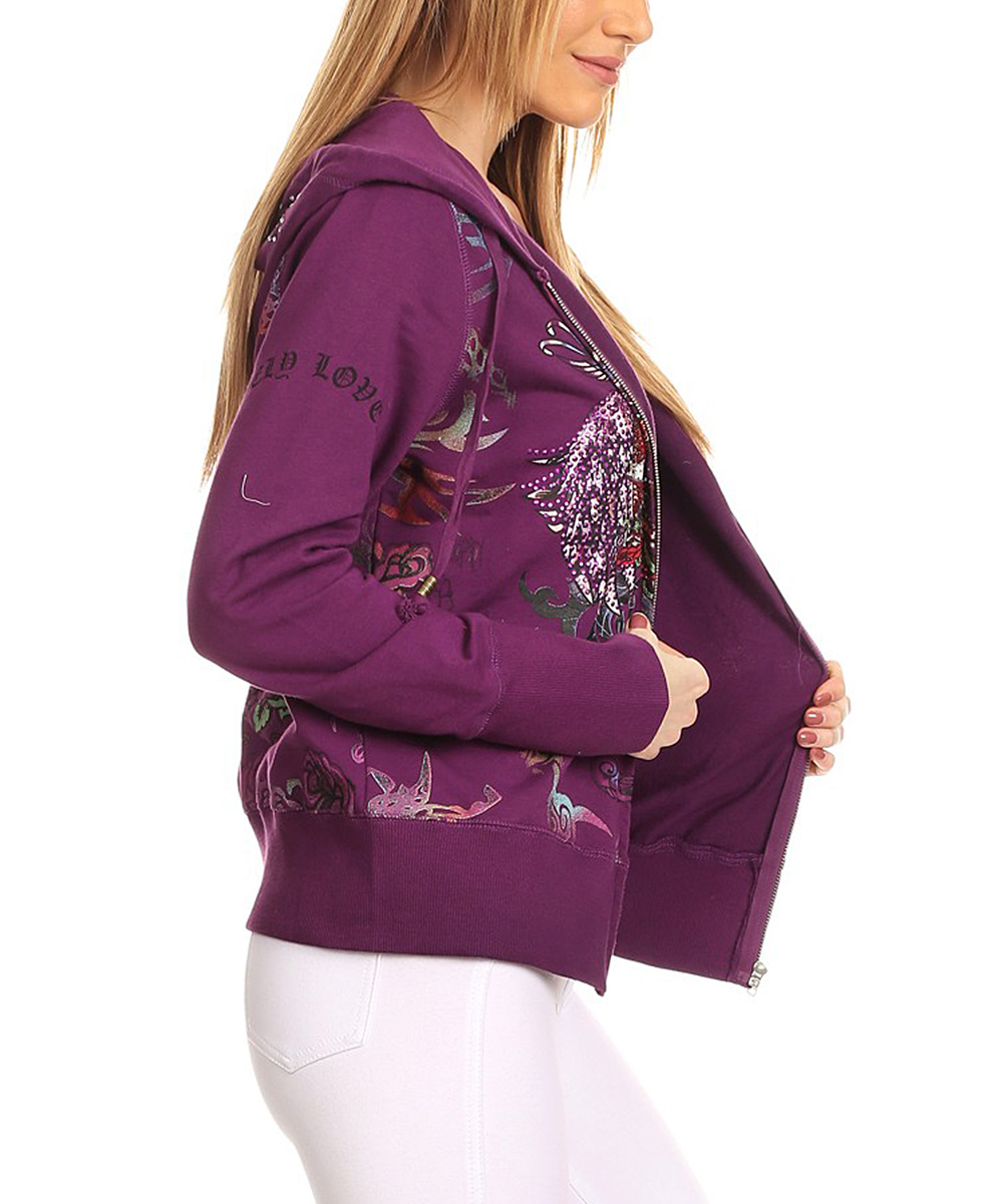 6eaa80f46cc love this product Purple Abstract Rhinestone Zip-Up Hoodie - Plus