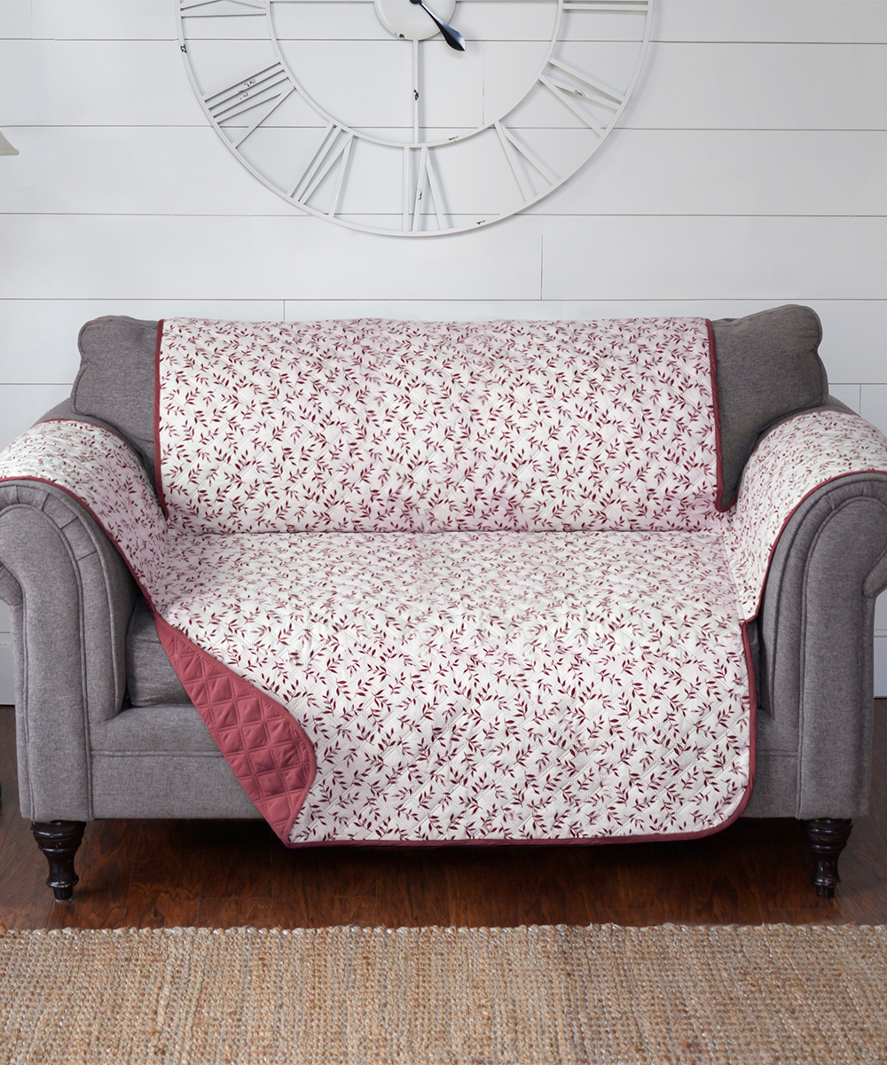 Journee Home Burgundy Leaf Reversible Love Seat Protector  c362068e9
