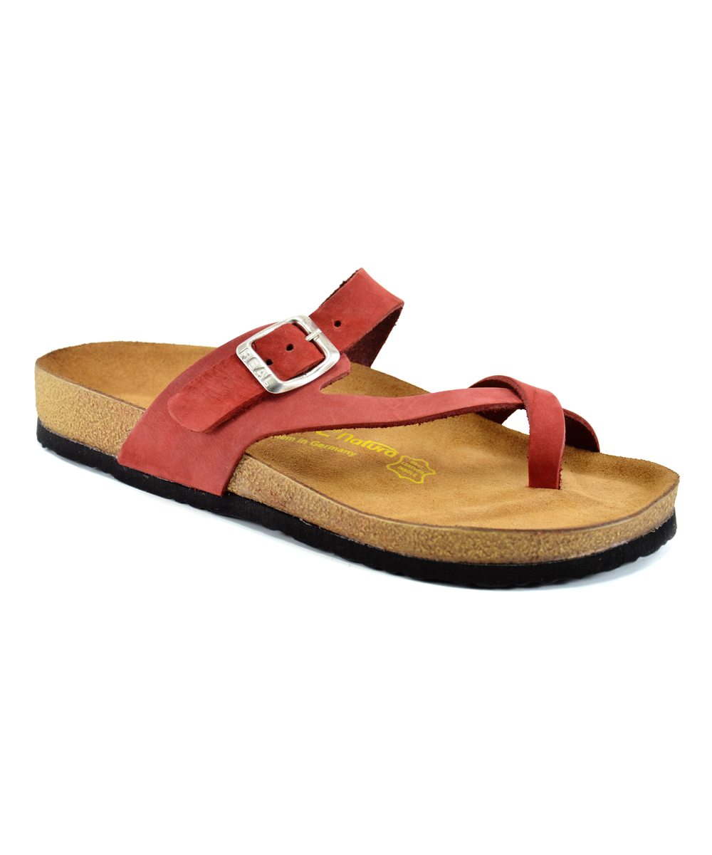 f78e1d23c6f48 Real Natura Red Asymmetrical Leather Thong Sandal - Women