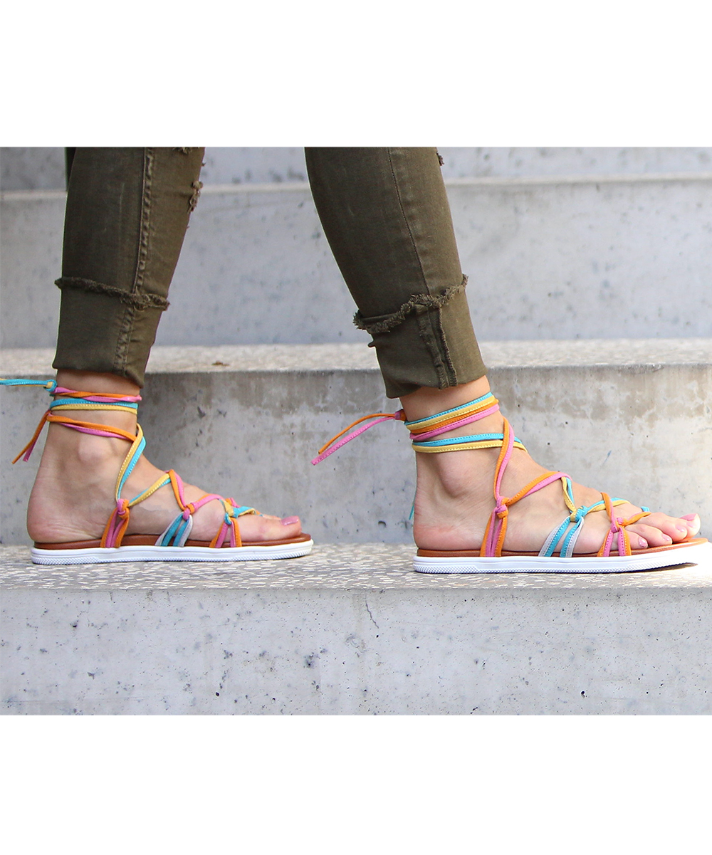 9b6bef37394 MIA Shoes Bright Pastel Florentina Ankle-Tie Sandal - Women