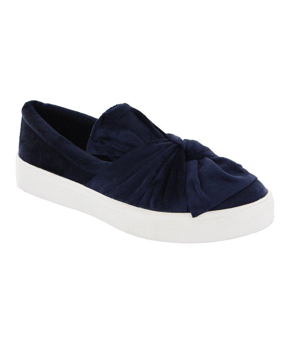 MIA Shoes Women's Sneakers Navy - Navy Zoe Slip-On Velvet Sneaker - Women