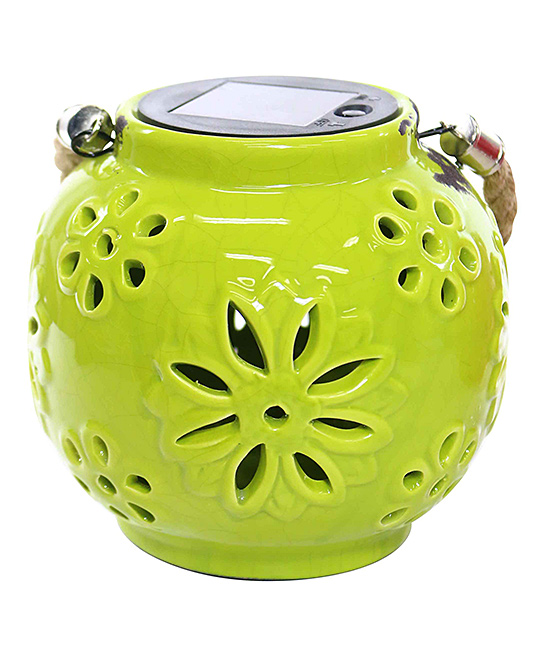 Yellow Flower LED Solar Ceramic Lantern