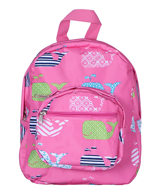 Pink Whale Mini Backpack Pink Whale Mini Backpack. Your little one carries supplies in style courtesy of this backpack boasting a colorful design. 9.5'' W x 11'' H x 4.5'' DPolyesterSpot cleanImported