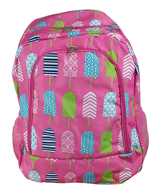 Pink Ice Pop Backpack Pink Ice Pop Backpack. A quirky and colorful design adds charm to this classic backpack featuring multiple pockets for added convenience. 13'' W x 16.5'' H x 8.5'' DPolyesterSpot cleanImported