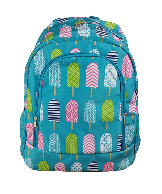 Turquoise Ice Pop Backpack Turquoise Ice Pop Backpack. A quirky and colorful design adds charm to this classic backpack featuring multiple pockets for added convenience. 13'' W x 16.5'' H x 8.5'' DPolyesterSpot cleanImported