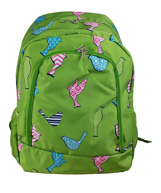 Green Bird Backpack Green Bird Backpack. A quirky and colorful design adds charm to this classic backpack featuring multiple pockets for added convenience. 13'' W x 16.5'' H x 8.5'' DPolyesterSpot cleanImported