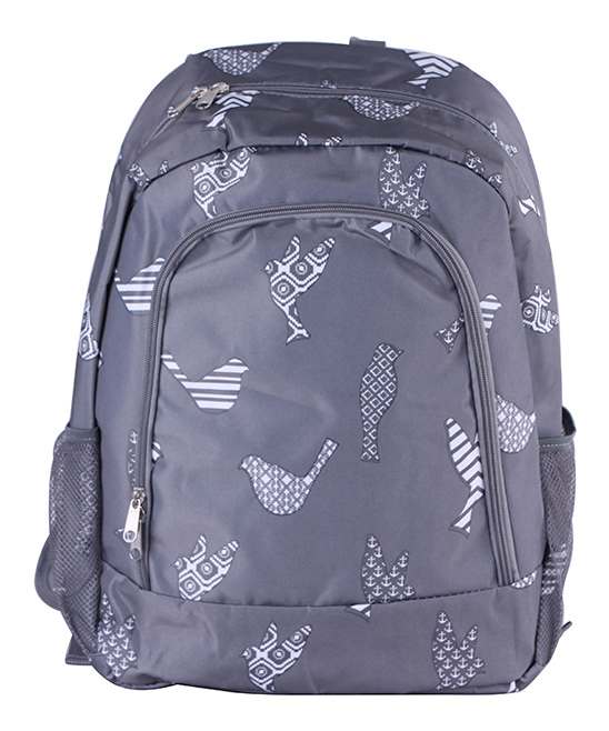 Gray Bird Backpack Gray Bird Backpack. A quirky and artful design adds charm to this classic backpack featuring multiple pockets for added convenience. 13'' W x 16.5'' H x 8.5'' DPolyesterSpot cleanImported