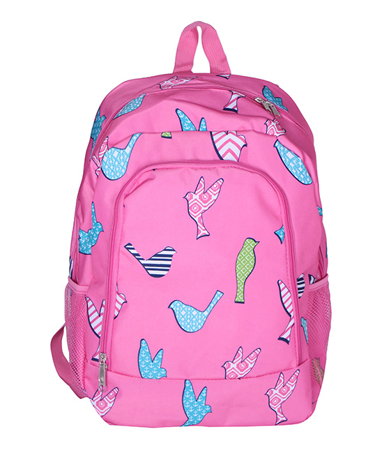 Pink Bird Backpack Pink Bird Backpack. A quirky and colorful design adds charm to this classic backpack featuring multiple pockets for added convenience. 13'' W x 16.5'' H x 8.5'' DPolyesterSpot cleanImported
