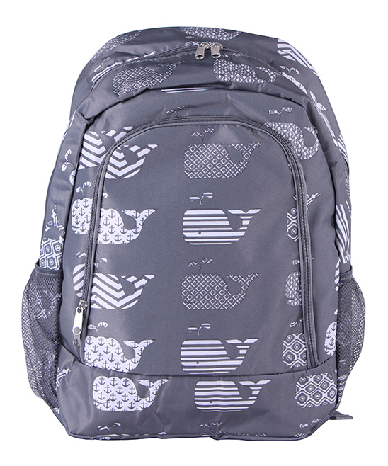 Gray Whale Backpack Gray Whale Backpack. A quirky and artful design adds charm to this classic backpack featuring multiple pockets for added convenience. 13'' W x 16.5'' H x 8.5'' DPolyesterSpot cleanImported