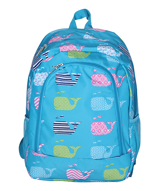 Light Blue Whale Backpack Light Blue Whale Backpack. A quirky and artful design adds charm to this classic backpack featuring multiple pockets for added convenience. 13'' W x 16.5'' H x 8.5'' DPolyesterSpot cleanImported