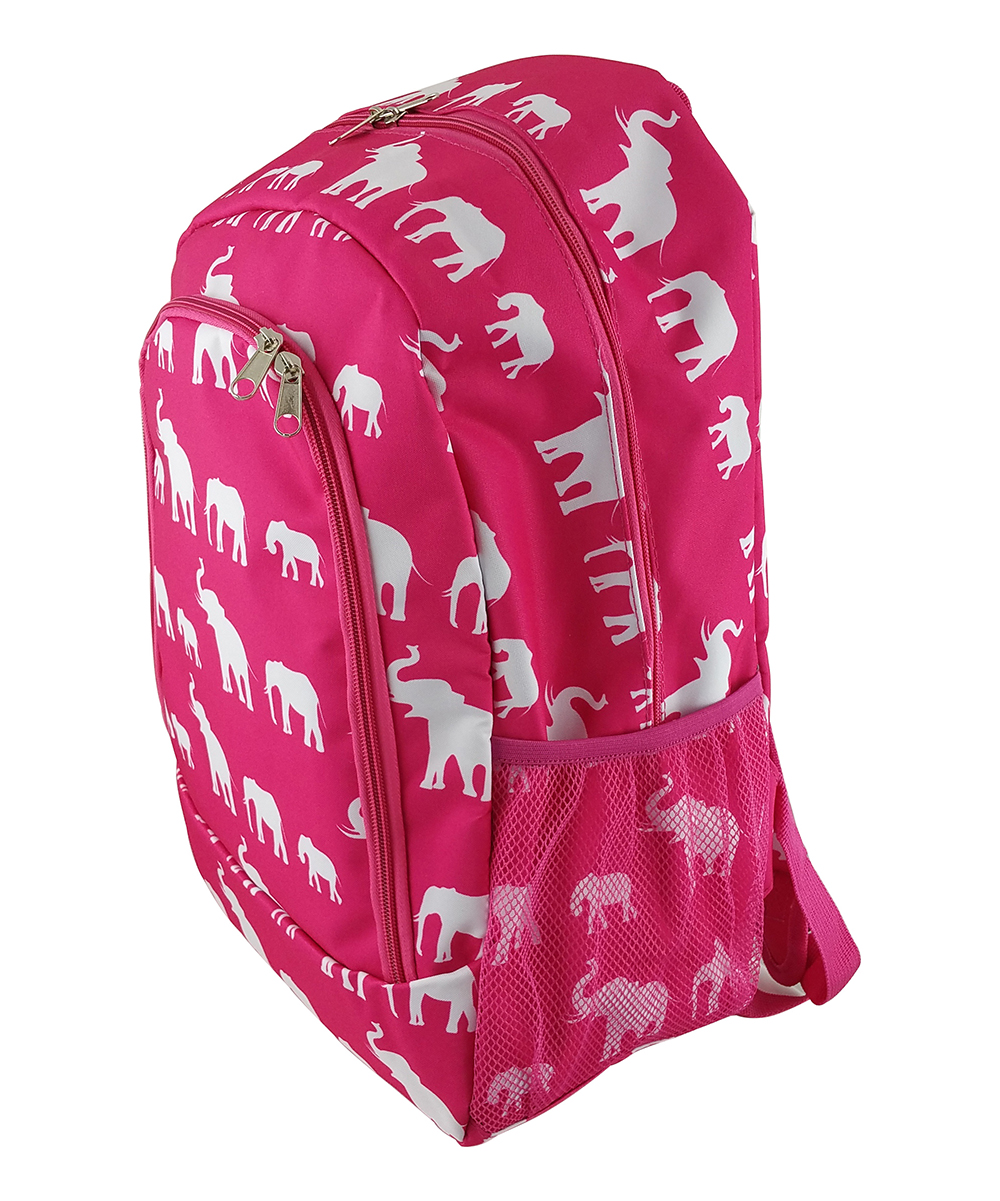 Pink Elephant Backpack Pink Elephant Backpack. A quirky and colorful design adds charm to this classic backpack featuring multiple pockets for added convenience. 13'' W x 16.5'' H x 8.5'' DPolyesterSpot cleanImported