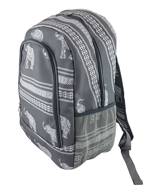 Gray & White Elephant Backpack Gray & White Elephant Backpack. A quirky and artful design adds charm to this classic backpack featuring multiple pockets for added convenience. 13'' W x 16.5'' H x 8.5'' DPolyesterSpot cleanImported