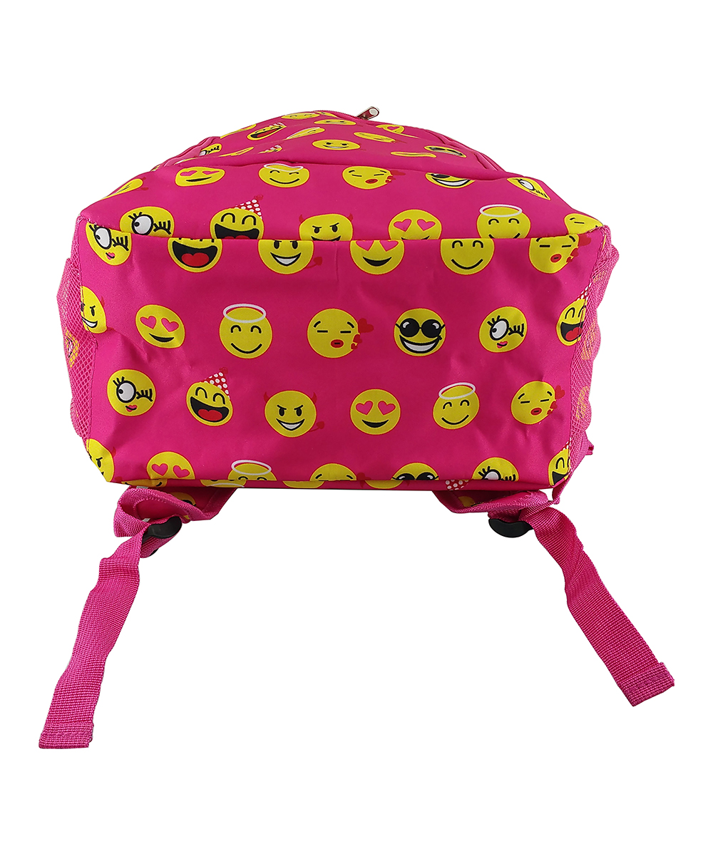 Pink Emoji Backpack Pink Emoji Backpack. Keep all your necessary school supplies secure courtesy of this backpack sporting a fun design and multiple pockets for storage.12'' W x 17.5'' H x 6'' DExterior: two slip pockets and one zipInterior: two slip pocketsPadded adjustable shoulder straps100% polyesterImported