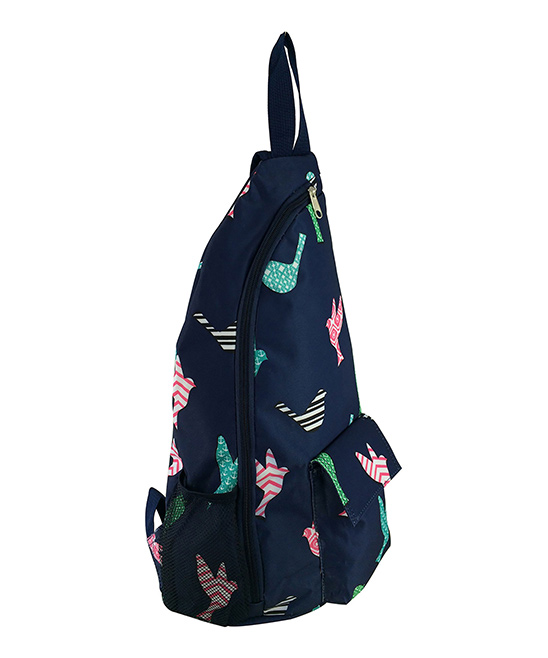 Blue Bird Sling Backpack Blue Bird Sling Backpack. Boasting a sling design and an artful bird motif, this backpack lets your little one tote their things in style.  13'' W x 18.5'' H x 5'' DPolyesterSpot cleanImported
