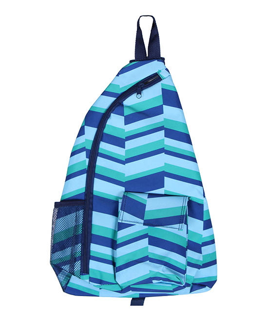 Blue Geometric Sling Backpack Blue Geometric Sling Backpack. Boasting a sling design and an artful geometric motif, this backpack lets your little one tote their things in style. 13'' W x 18.5'' H x 5'' DPolyesterSpot cleanImported