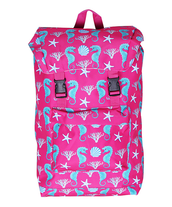 Pink Seahorse Backpack Pink Seahorse Backpack. This backpack boasts a colorful seahorse motif that lets your little one carry their items in style. 13'' W x 18'' H x 5'' DPolyesterSpot cleanImported