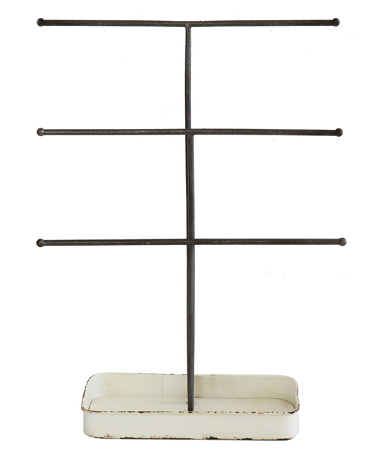 Three-Bar Jewelry Stand with Tray Three-Bar Jewelry Stand with Tray. Organize your collection of sparkling accessories with this modern, minimalist jewelry stand. An attached dish is ideal for storing broaches and clips. 11.5'' W x 15.38'' H x 4.25'' DMetalImported