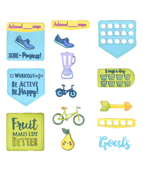 Sizzix  Stamps  - Health & Fitness Planner Sizzix Framelits Die & Stamp Set Health & Fitness Planner Sizzix Framelits Die & Stamp Set. Slap extra pizzazz onto your fitness planner with these themed dies and stamps. Includes dies and stamps; craft supplies not included0.75'' W x 0.38'' H to 1.38'' W x 1.38'' HCarbon steelImported