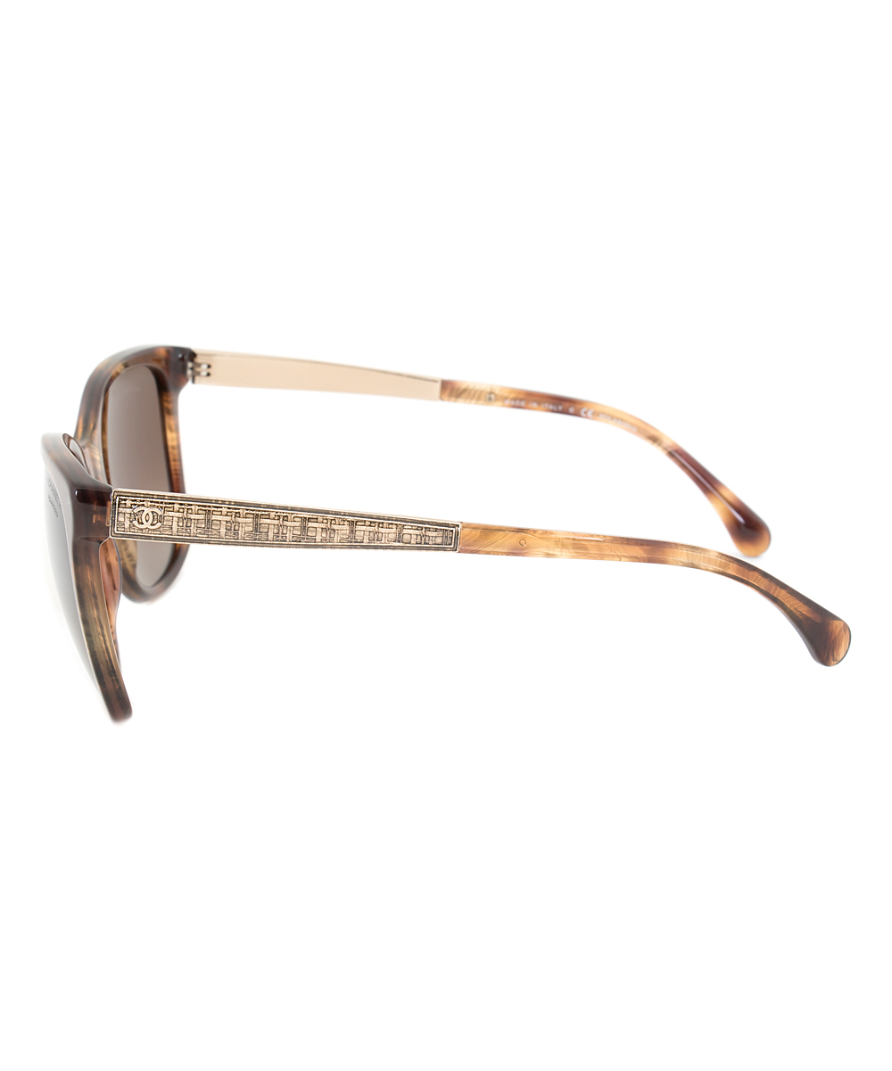 0e0776b552 all gone. Brown   Gold Embellished Polarized Cat-Eye Sunglasses