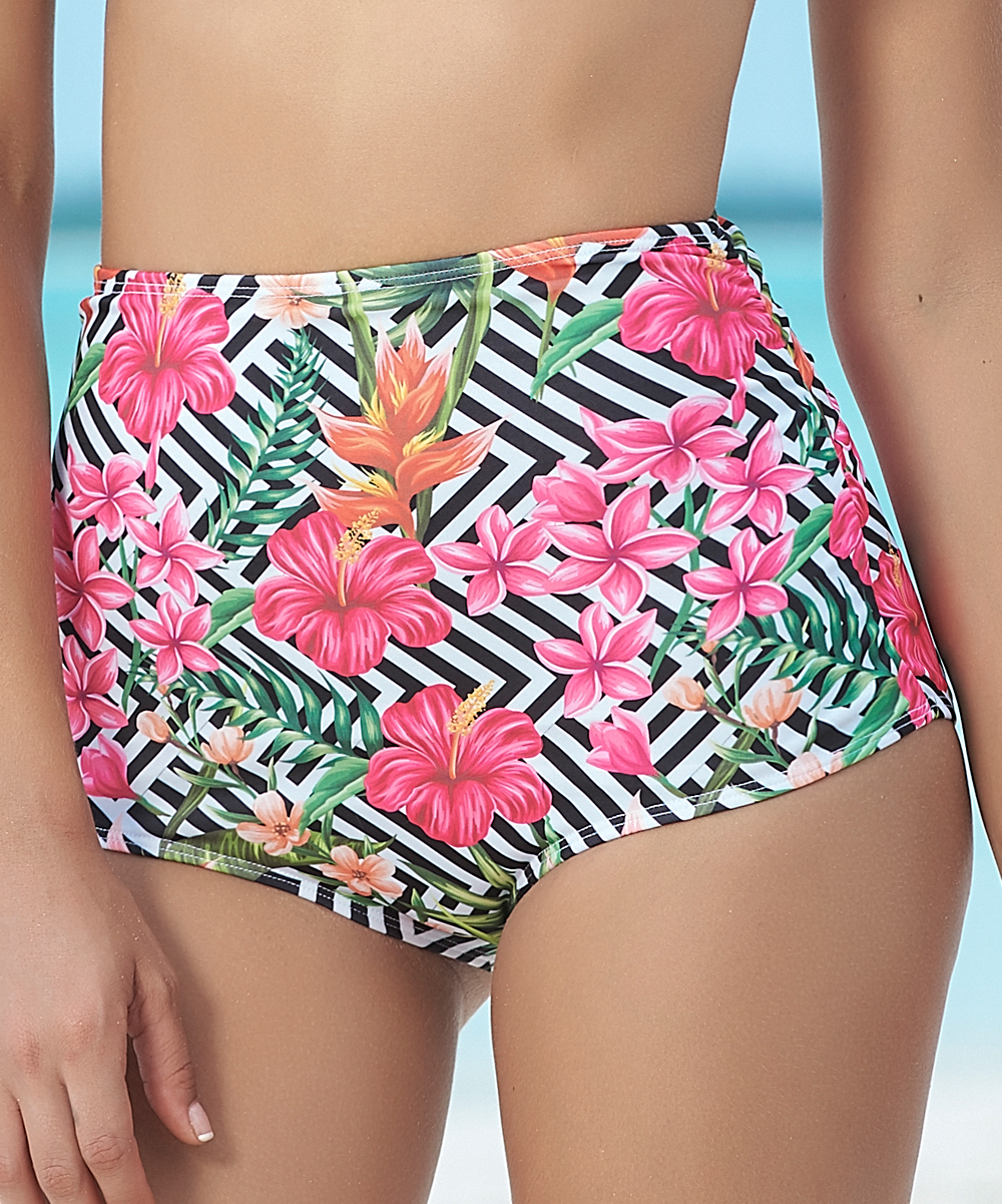ccd6f31fd1 Mapalé Black & White Floral Ruched High-Waist Bikini Bottoms - Women ...