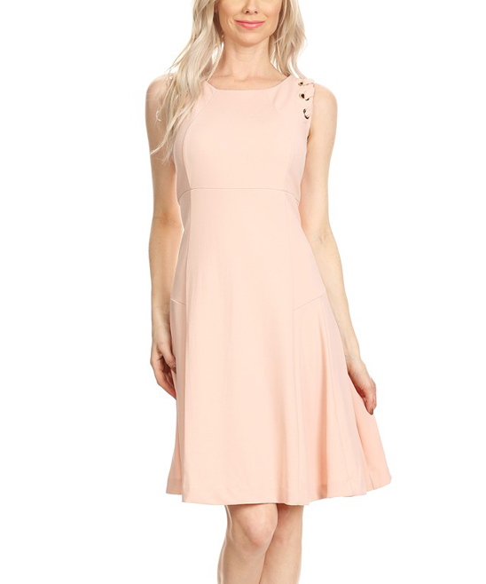 d749f34f94e CHARLIE Blush Lace-Up Detail Fit   Flare Dress