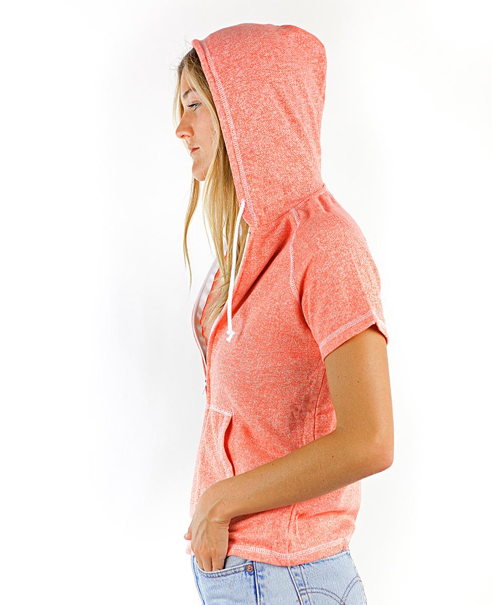 b1c1a2f8 ... Womens PAPAYA Papaya French Terry Zip-Up Short-Sleeve Hoodie -  Alternate Image 2