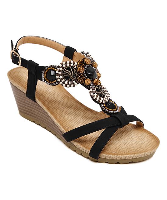5de2be24e7161b Siketu Black Rhinestone-Embellished Wedge Sandal - Women