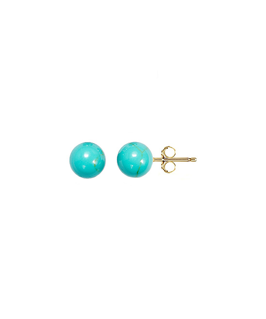 Best Silver Kids Girls' Earrings  - Turquoise & 14k Gold Ball Stud Earrings